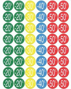 Agipa Kortinglabel van -20% tot - 50%, geassorteerde kleuren