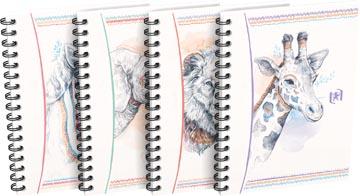 Oxford Boho Chic spiraalblok, ft A6, 120 bladzijden, geruit 5 mm, geassorteerde kleuren
