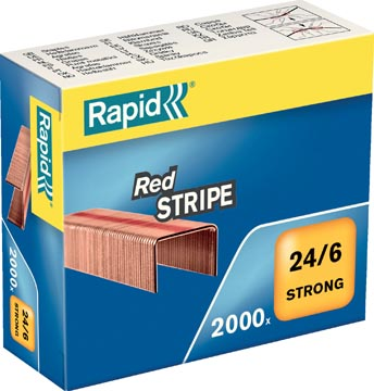 Rapid Nietjes 24/6, Red Stripe, verkoperd, doos van 2000 nietjes