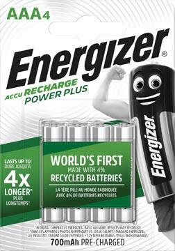 Energizer herlaadbare batterijen Power Plus AAA, blister van 4 stuks