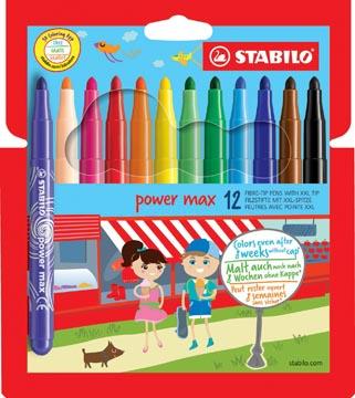 STABILO power max viltstift, etui van 12 stuks in geassorteerde kleuren